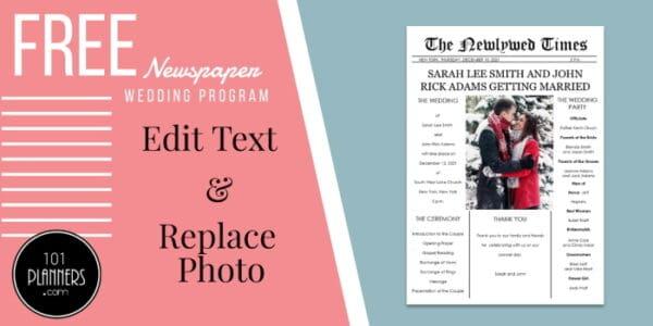 Newspaper wedding program