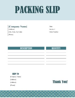 Packing Slip template