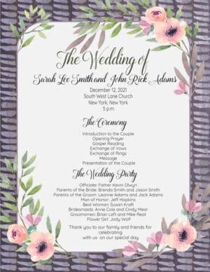 Wedding list of events