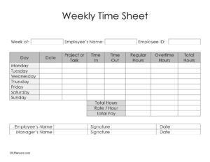 Basic Weekly timesheet