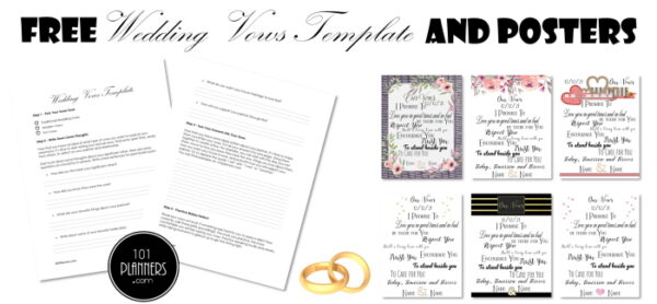 wedding vows template and posters