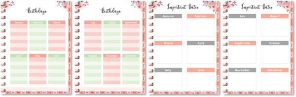 Birthday calendar and important dates
