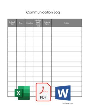 Contact Log Template