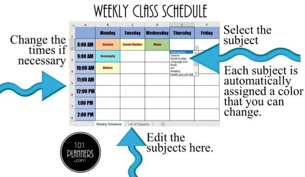 Weekly Class Schedule Excel