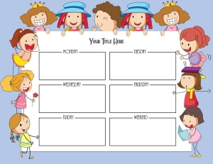 Weekly schedule for kids