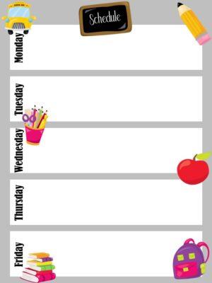 Weekly schedule for preschool