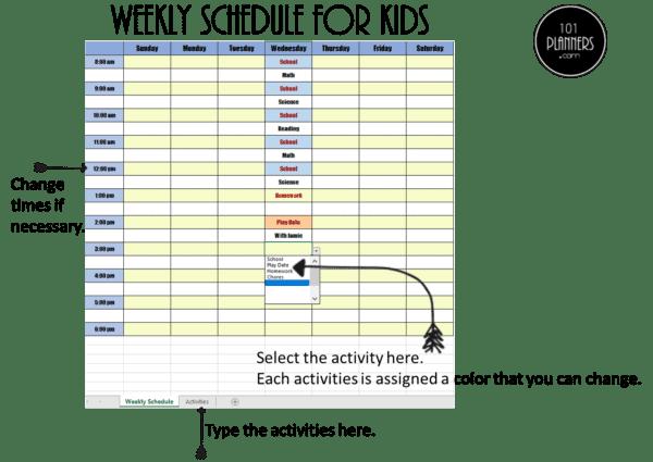 Weekly Excel schedule