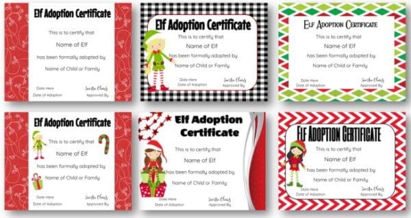 elf adoption certificates