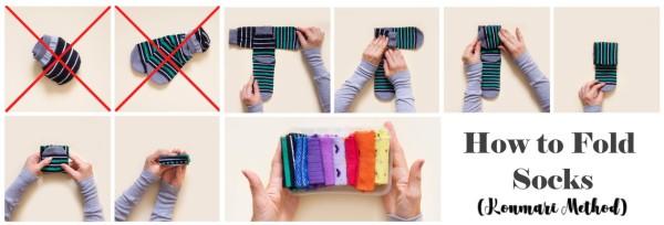Konmari method to fold socks