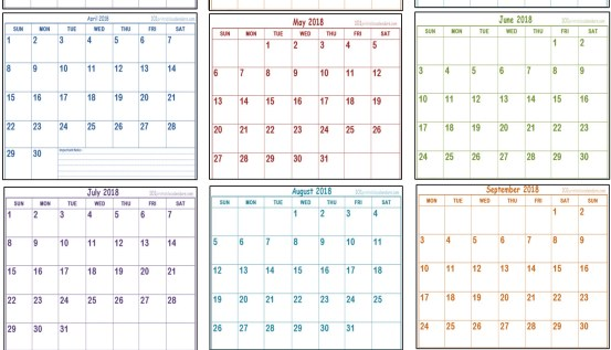 free printable 2018 calendar in portrait layout with 12 months on one page