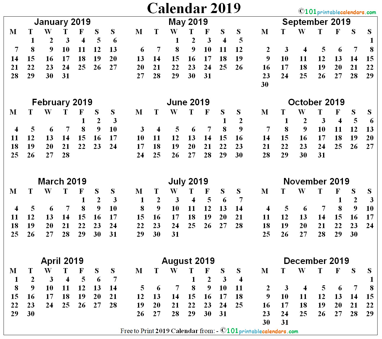 printable 12 month calendar on one page