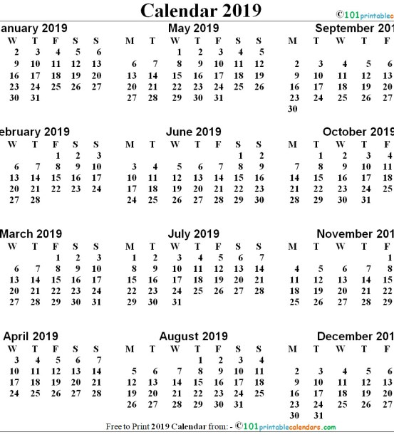 Free Printable 12 Months Calendar 2018 One Page In Vertical Layout