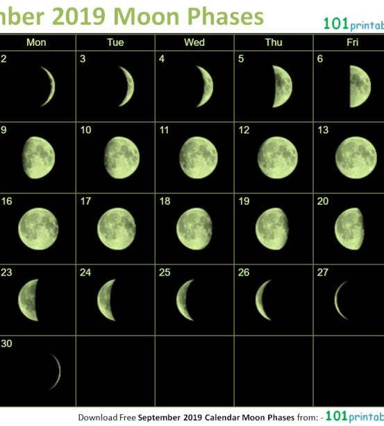 September 2018 Calendar Moon Phases