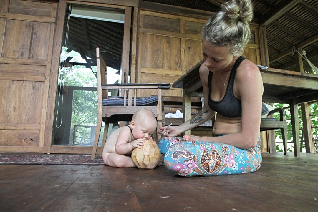 With baby in Bali