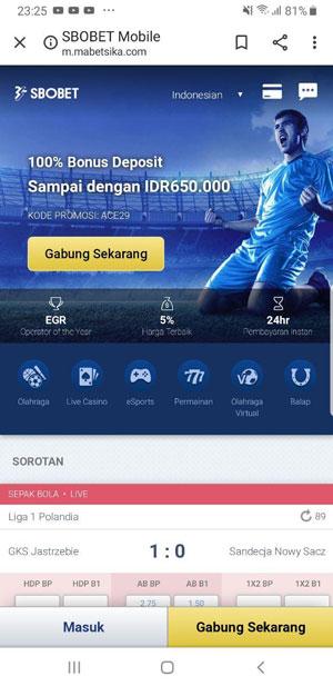 Login Sbobet Mobile