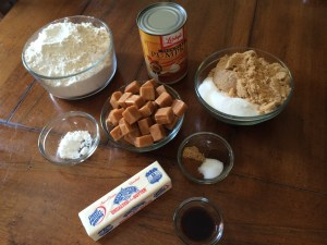Pumpkin caramel cookie ingredients