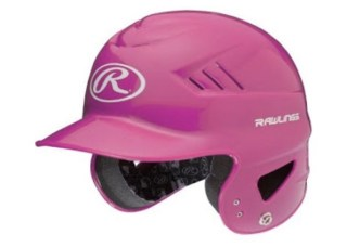 A bright pink child's batting helmet.