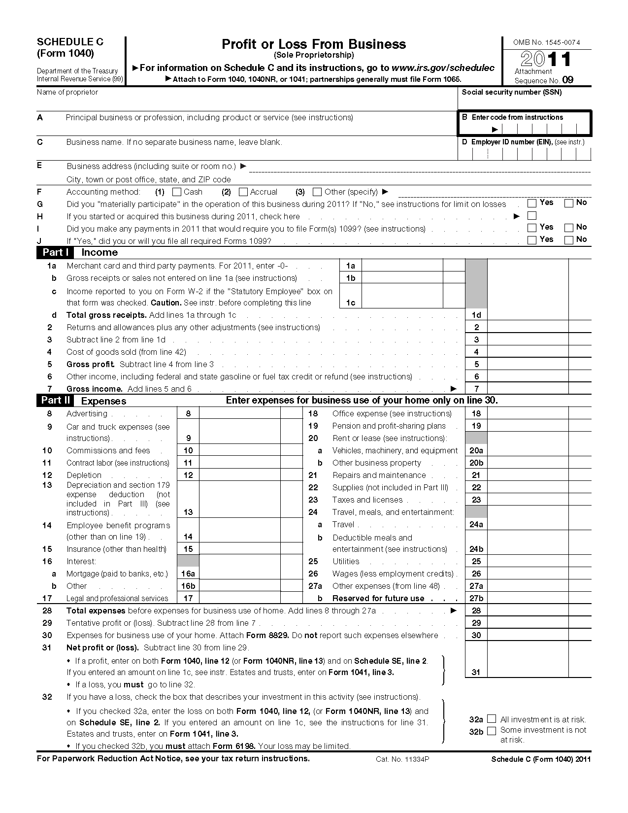 Form Schedule C Profit Or Loss From Business Sole