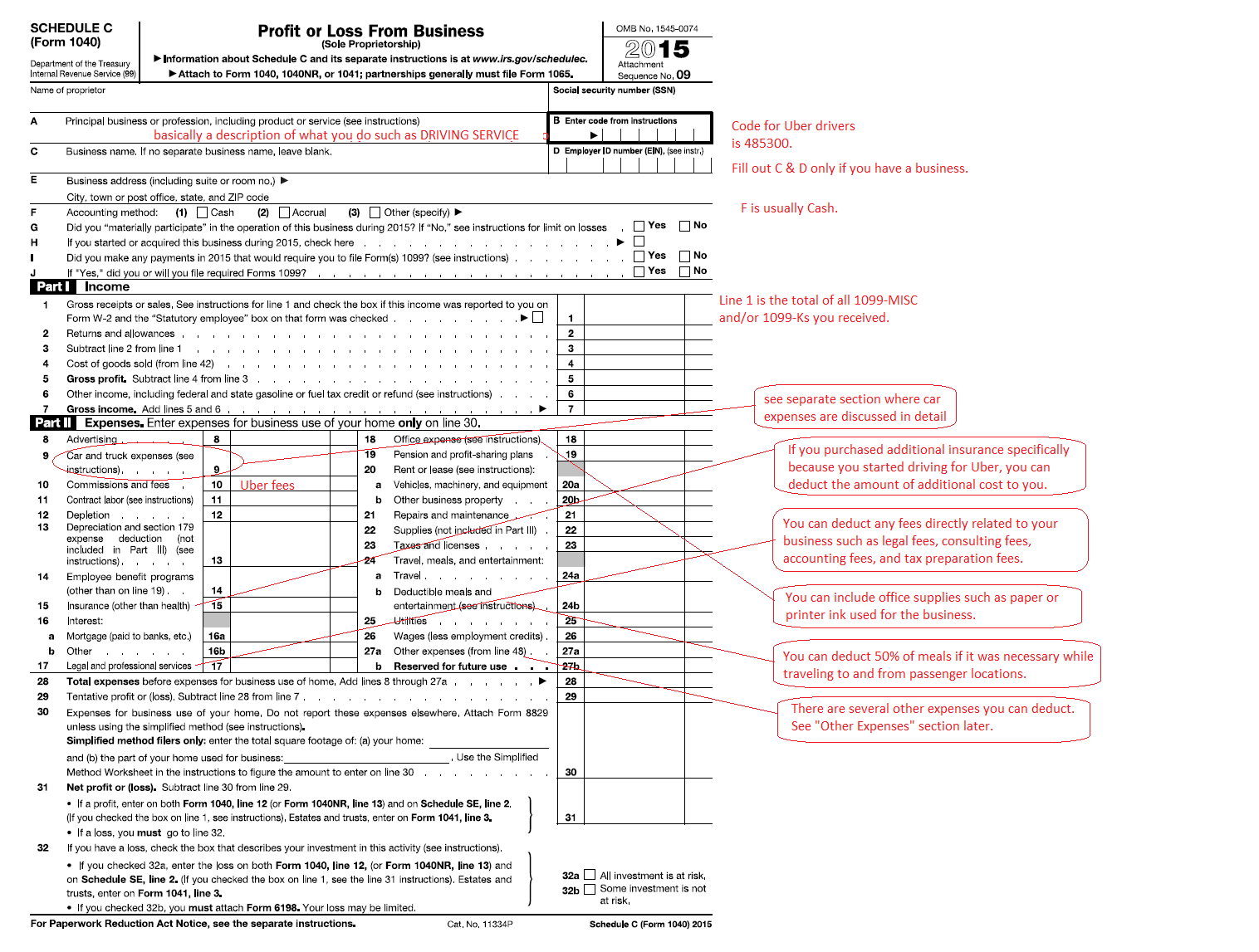 Form Schedule C For Uber Drivers Sample