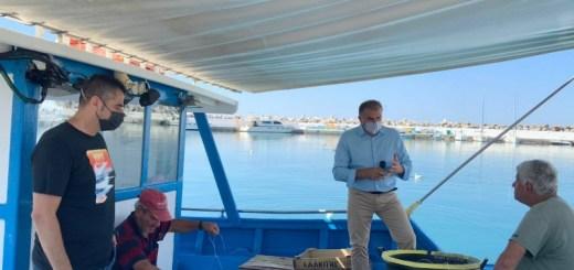 Ο Δήμαρχος Ιεράπετρας και ο Πρόεδρος Λιμενικού Ταμείου στο αλιευτικό καταφύγιο