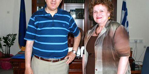 ο Νομάρχης Λασιθίου με την κ. Μπρεδάκη