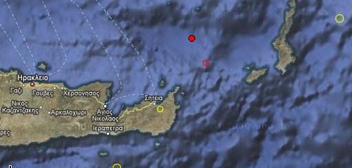 ο χάρτης με το επίκεντρο, ο άλλος κύκλος είναι ο προηγούμενος ασθενέστερος σεισμός