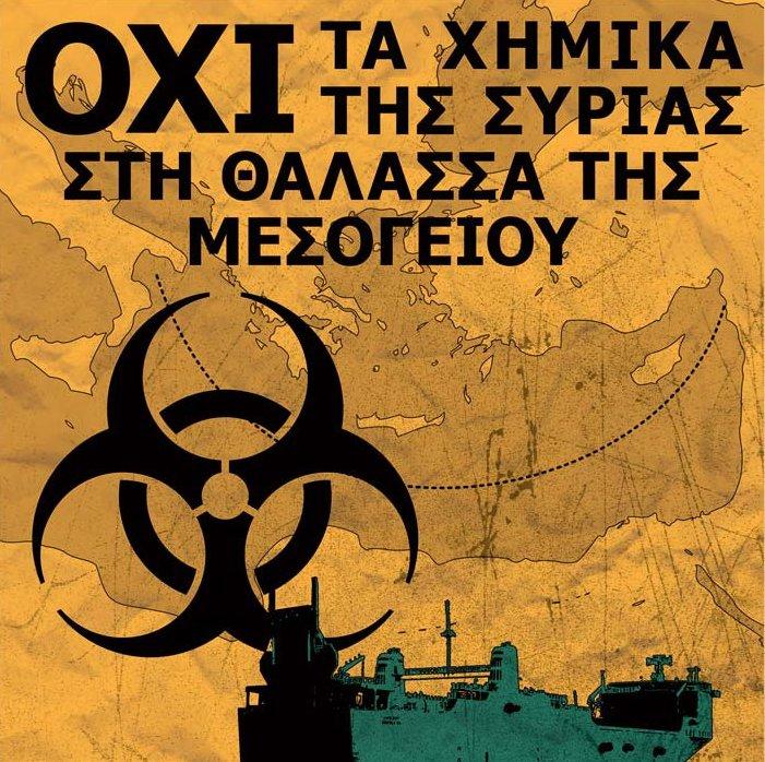 όχι στα χημικά της Συρίας στη θάλασσα της Μεσογείου