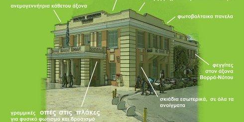 το κτίριο της Νομαρχίας Ηρακλείου, με τις σχεδιαζόμενες παρεμβάσεις