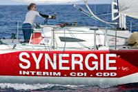 Η Isabelle Joschke με το σκάφος Synergie