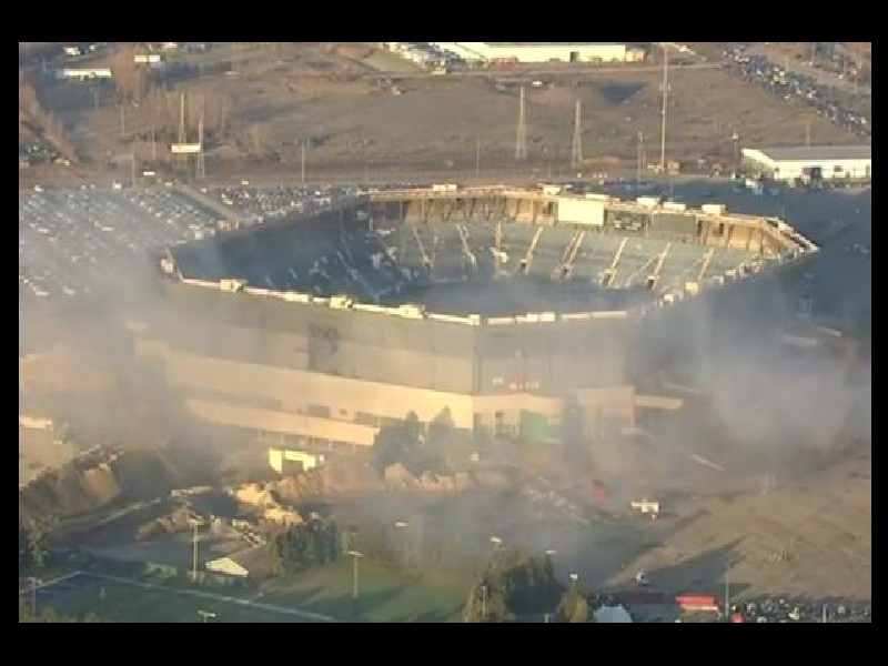 Second implosion of Pontiac Silverdome taking place at 4 pm today