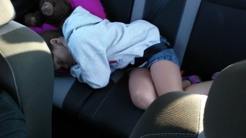 Sleeping in the backseat on the way to Wichita Mountains