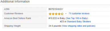 snapshot showing the ranking Britax B-Lively on Amazon
