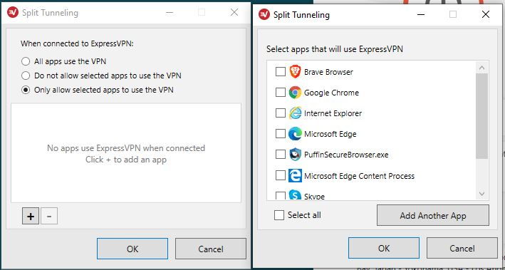 ExpressVPN - Split tunneling-settings - select apps that will use expressvpn