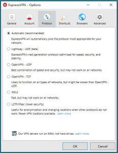 ExpressVPN Windows Options - Protocol