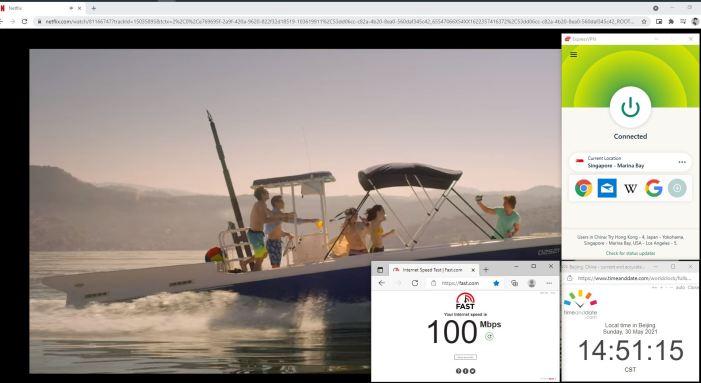 NetFlix测速 Windows10 ExpressVPN Automatic协议 Singapore - Marinade Bay 服务器 中国VPN 翻墙 奈飞 Barry测试 - 20210530