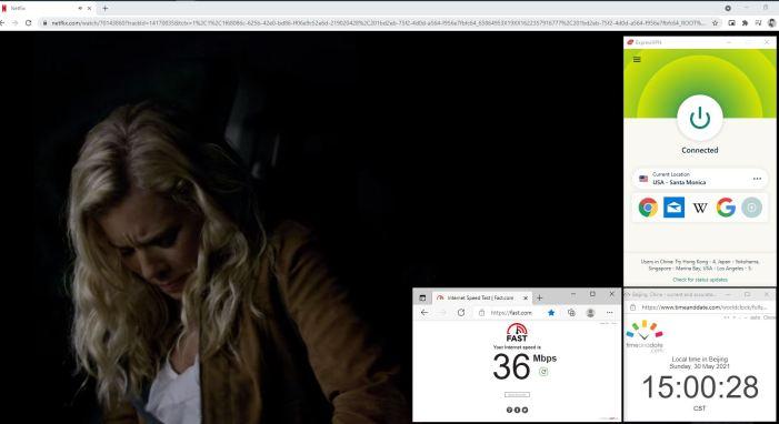 NetFlix测速 Windows10 ExpressVPN Automatic协议 USA - Santa Monica 服务器 中国VPN 翻墙 奈飞 Barry测试 - 20210530