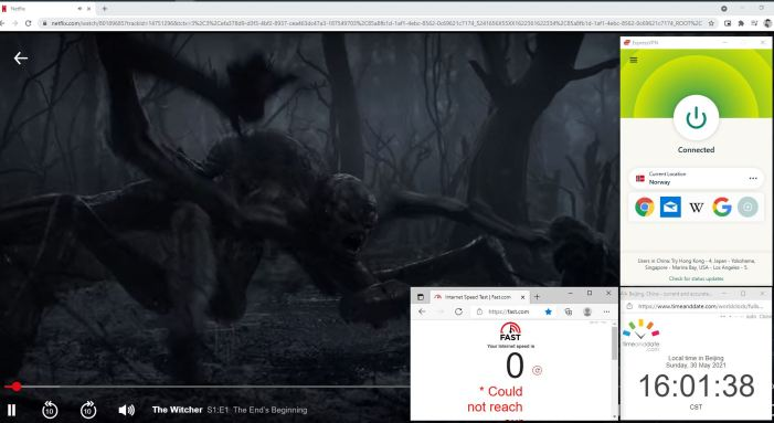 NetFlix测速 Windows10 ExpressVPN IKEv2协议 Norway 服务器 中国VPN 翻墙 奈飞 Barry测试 - 20210530