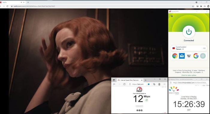 NetFlix测速 Windows10 ExpressVPN Lightway-udp协议 Taiwan - 3 服务器 中国VPN 翻墙 奈飞 Barry测试 - 20210530