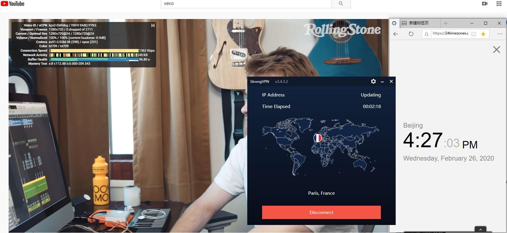 StrongVPN Windows10 Paris France 中国VPN翻墙 科学上网 Youtube测速-20200226