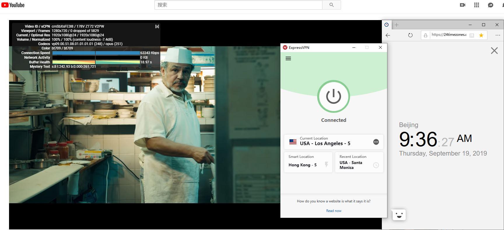 Windows ExpressVPN USA-los angeles-5 服务器 中国VPN翻墙 科学上网 YouTube连接速度-20190919