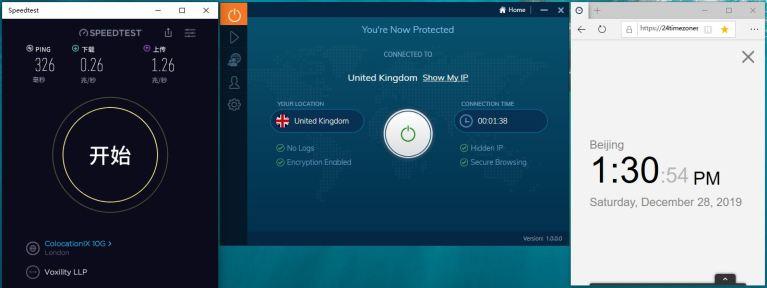 Windows IvacyVPN United Kingdom 中国VPN翻墙 科学上网 SpeedTest测试 - 20191228