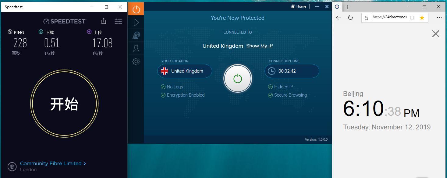 Windows IvacyVPN United Kingdom 中国VPN翻墙 科学上网 Speedtest测速-20191112