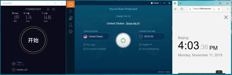 Windows IvacyVPN United States 中国VPN翻墙 科学上网 Speed test测速 - 20191111