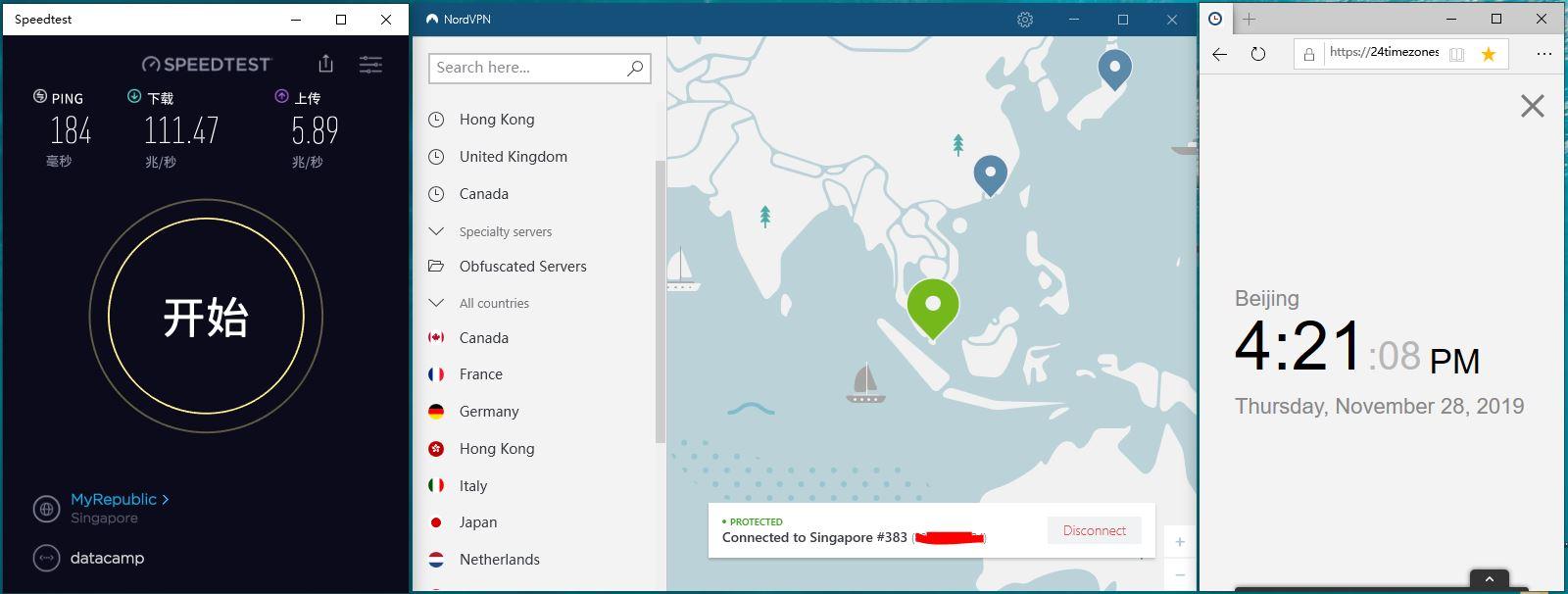 Windows NordVPN Singaore 383 中国VPN翻墙 科学上网 SpeedTest测试-20191128