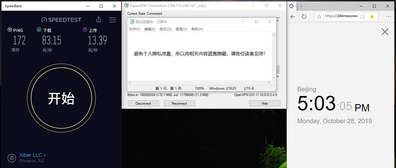 Windows SurfsharkVPN OpenVPN 184-2-UDP 中国VPN翻墙 科学上网 SpeedTest - 20191028