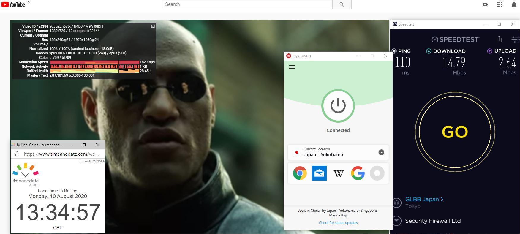 Windows10 ExpressVPN Auto协议 Japan - Yokohama 中国VPN 翻墙 科学上网 翻墙速度测试 - 20200810