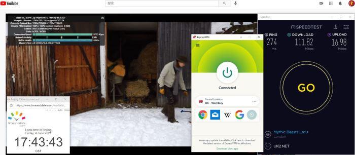 Windows10 ExpressVPN Auto协议 UK- Wembley 服务器 中国VPN 翻墙 科学上网 Barry测试 10BEASTS - 20210604