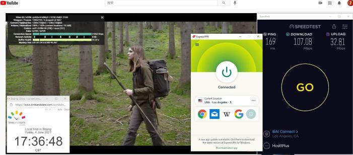 Windows10 ExpressVPN Auto协议 USA - Los Angeles - 5 服务器 中国VPN 翻墙 科学上网 Barry测试 10BEASTS - 20210604