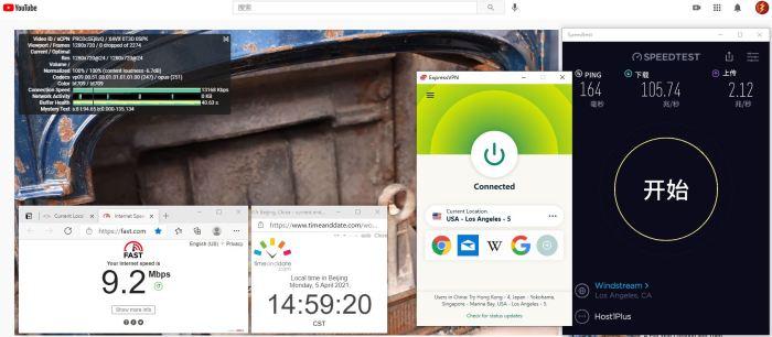 Windows10 ExpressVPN Automatic USA - Los Angeles - 5 服务器 中国VPN 翻墙 科学上网 10BEASTS Barry测试 - 20210405