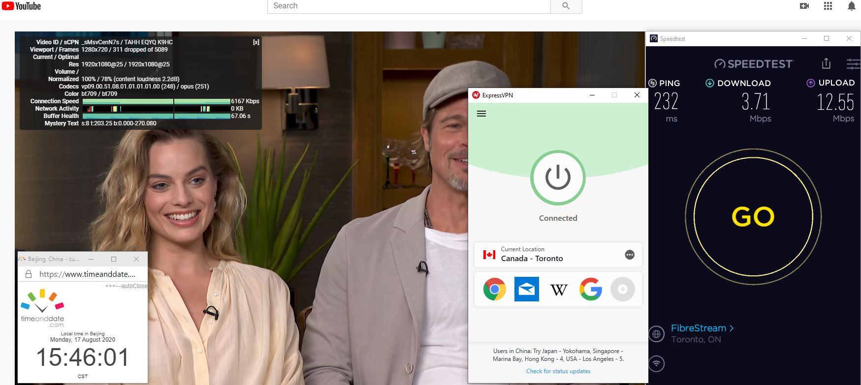Windows10 ExpressVPN IKEv2协议 Canada - Toronto 中国VPN 翻墙 科学上网 翻墙速度测试 - 20200817-2